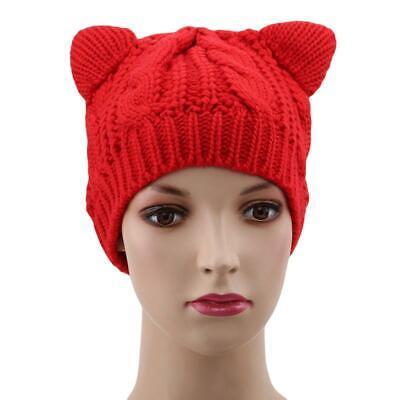 Cute Beanie Hat Cat Ear Cap Beret Braided Knit Caps For Women Ladies Girl LA ()