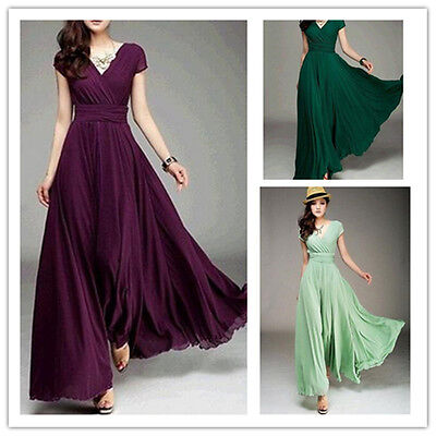 Women Long Formal Evening Prom Bridesmaid Chiffon Ball Gown Cocktail Dress Robe Chiffon Prom Evening Gown