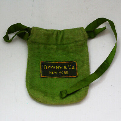 1920s Style Purses, Flapper Bags, Handbags Antique 1920's Tiffany & Co. Green Anti Tarnish Storage Bag Pouch - Broken Strap $45.00 AT vintagedancer.com
