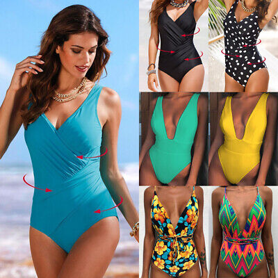 Womens Plus Size One Piece Monokini Open Back Swimsuit Padded  Bikini Swimwear Bikini Back One Piece Swimsuit