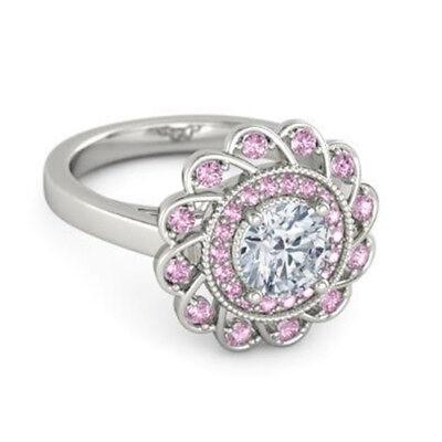 Fashion Silver Pink Diamond Engagement Wreath Ring Wedding Jewelry Size 5-10