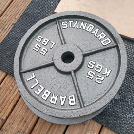 8x 25kg Cast Iron Olympic weight plates