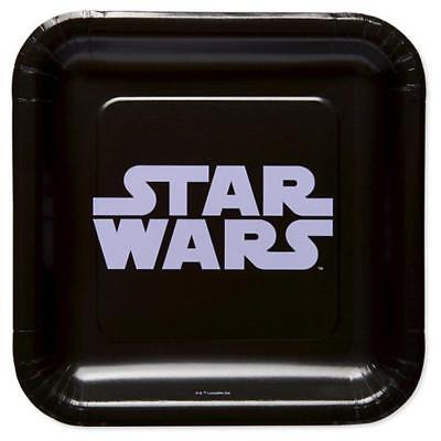 Star Wars Classic Black Dessert Plates 8 per Package Birthday Party Supplies NEW - Star Wars Party Plates