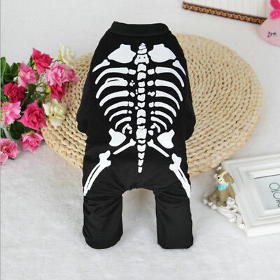 Halloween Skull Dog Clothes For Pets Cat Coat Costume Outfit Fancy Dress Apparel
