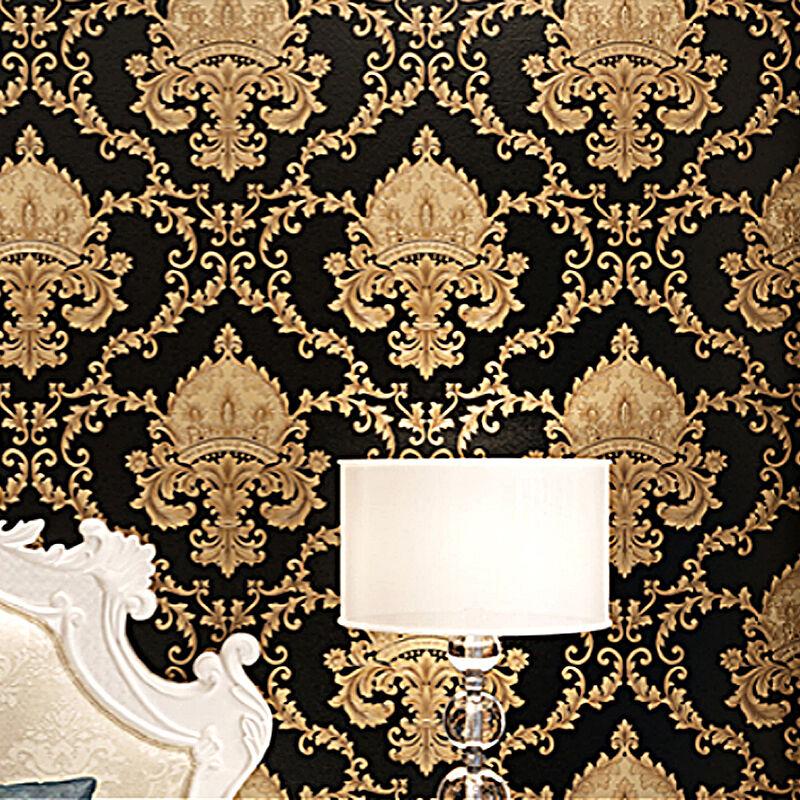 luxury black metallic gold texture vinyl damask wallpaper