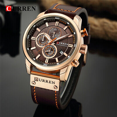 Men Waterproof Leather Army Military Chronograph Date Quartz Fashion Wrist Watch