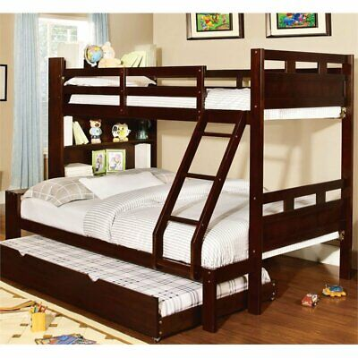 Furniture of America Julliant Twin over Full Bunk Bed in Wal