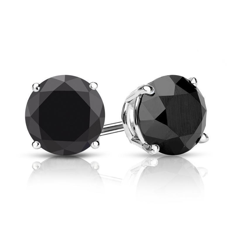 2 Ct Black Diamond Stud Earrings 14K White Gold Over Women and Men Earrings