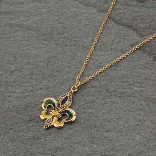 Gold-tone New Orleans Mardi Gras Color Fleur de lis Necklace
