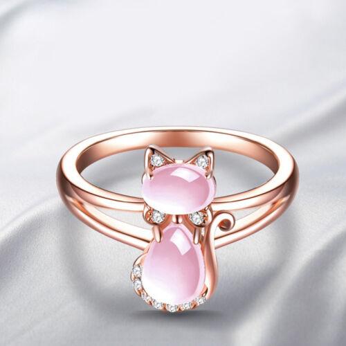 Women Rose Gold Cat Animal Crystal Opal Ring Band Wedding Je
