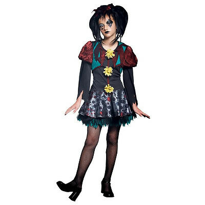 NEW! SCARY MERRY M 8-10 Child Girl's Creepy Gothic Rag Doll Costume Rubies - Scary Girl Costumes