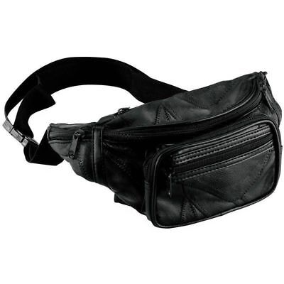 NEW Black Leather Fanny Pack- Mens Waist Belt Bag -Womens Purse Hip Pouch Travel