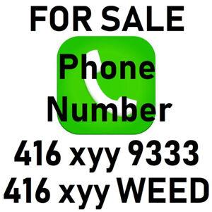 FOR SALE is 416 xyy WEED (9333) Easy Vanity VIP 416 Phone Number