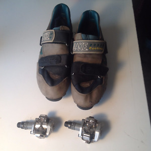 Shimano PD M515 clipless Pedals and size 13 lake clipless shoes