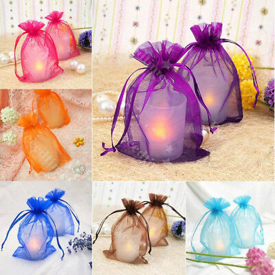 25/100X Sheer Organza Gift Bags Boxs Candy Jewelry Packaging Mesh Wedding Party (Mesh Gift Bags)