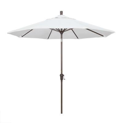 9Ft. Aluminum Market Umbrella Auto Tilt Champagne-Olefin-White