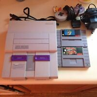 Super Nintendo with 2 games