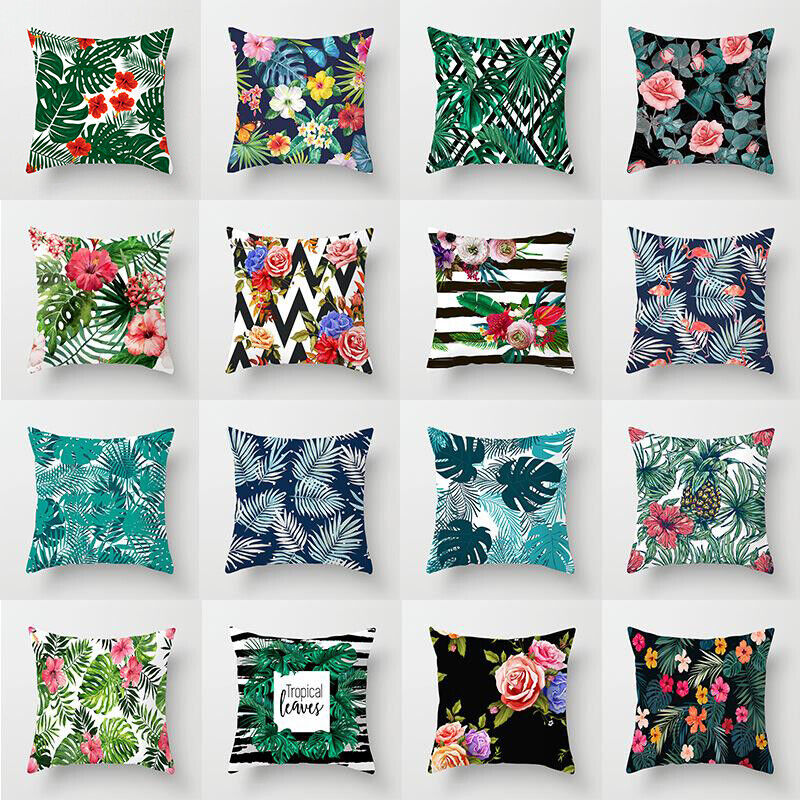 18'' Artificial Green Plant pillows case throw sofa Bed cush