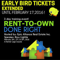 Early Bird Tickets Extended! Rent-to-Own Workshop