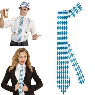 KRAWATTE Oktoberfest Schlips blau weiß Raute Wiesn Bayern Kostüm - Kostüm Krawatten
