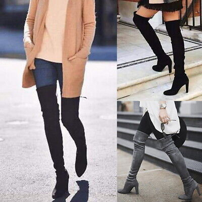 Womens Ladies Thigh High Boots Over The Knee Party Stretch Block Mid Heel Winter Heel Knee High Stretch Boots