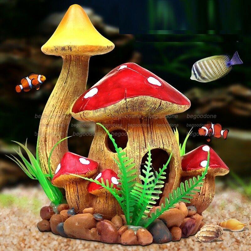 Aquarium Decoration Mushroom Ornaments Fairy Resin Articraft For Fish Tank Home Ebay