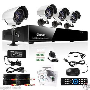 ZMODO 4CH CCTV H.264 Security DVR 4 Outdoor Night Vision Cameras System