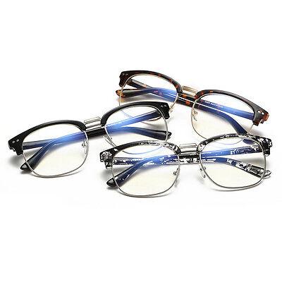 Unisex Klarsichtbrille Hälfte Umrandeten Brille ohne Stärke mit Glas best U7E2
