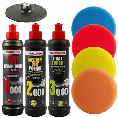 Polierschwamm Set 5 Teile Polierpads 150x50mm extra dick + Menzerna Politur Kit