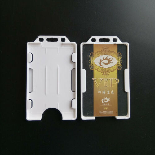 Vertical Hard Plastic ID Badge Holder Double Card Cover Pocket Pouch Pragmatic
