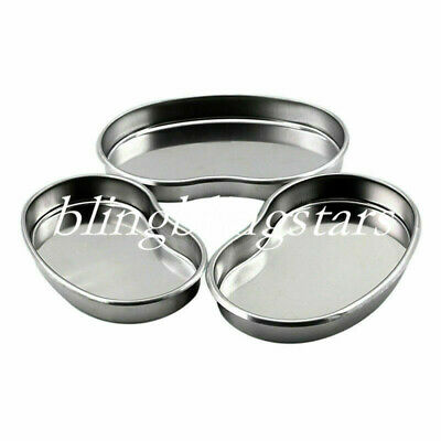 3 Pcs Dental Stainless Steel Bowl Tray Dish Surgical Medical Instrument Sml