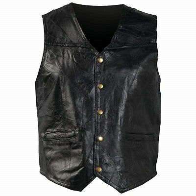 Mens Black Genuine Leather VEST Motorcycle Biker Fully Lined Pocket Snap MC Club