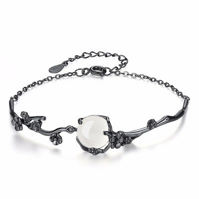 925 Silver Black Gold Plated Plum Blossom Opal Flower Bracelet Women Jewelry Black Gold Opal Bracelets