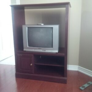 "Selling Mahogany TV RTA Wall Unit Stand & 21""  Color TV Included"