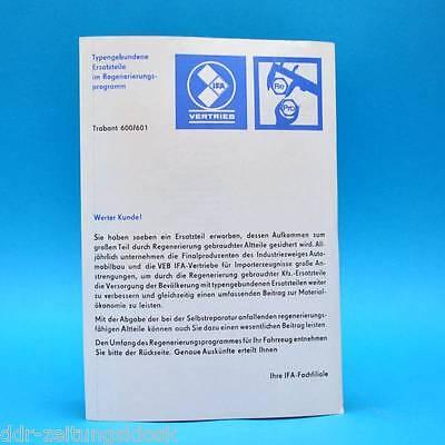 IFA Vertrieb Kundeninformation | Trabant 600 und 601 um 1975 | DDR Werbezettel J