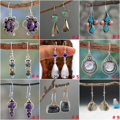 925 Silver Dangle Drop Earrings Ear Hook Moonstone Women Fashion Jewelry Gift