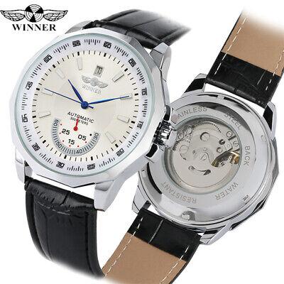 WINNER Mens Military Automatic Mechanical Skeleton Wrist Watch Leather Bracelet