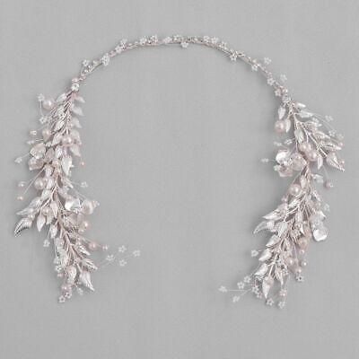 Plata Color Estampado Hojas Perlas Cuentas Diadema Tiaras Para Cabello de Novia