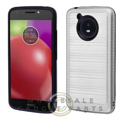 Motorola Moto E4 Brushed 2/PC Hybrid Case - Carbon Fiber/Silver Guard Shield
