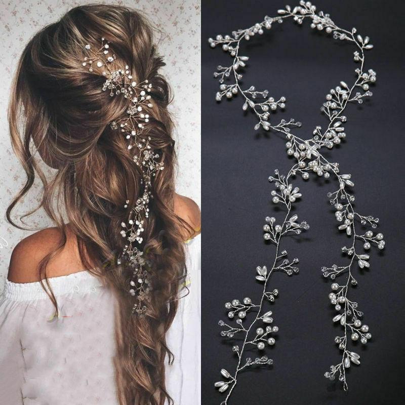 Diamante Wedding Hair Vine Crystal Bridal Dress Accessories Beaded Hair Halo