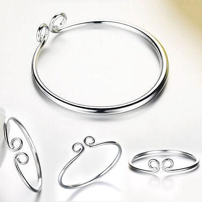 Women Fashion Jewelry 925 Silver Plated Adjustable Cuff Bangle Bracelet 18-6
