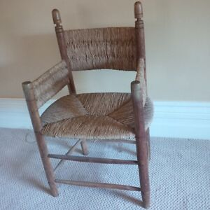 vintage primitive hand made reed chair