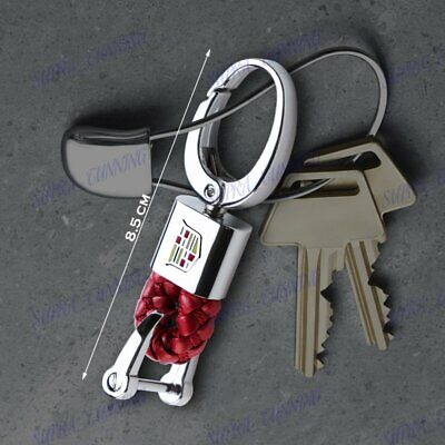For CADILLAC Emblem Logo Key Chain Ring BV Style Leather Gift Decoration Red New