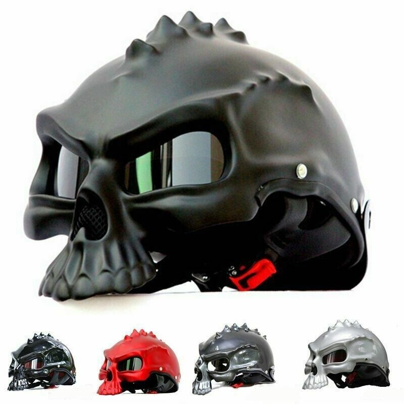 Skull Motorcycle Helmet Half Face Safety Motorbike Scary Unique Rider Biker Mask Ebay