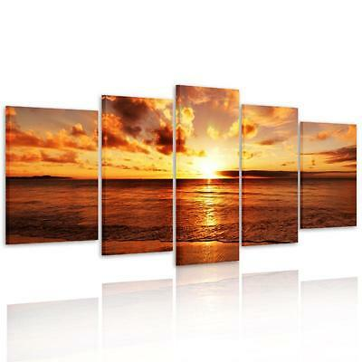 Large Sea Sunrise Framed HD Canvas Print Wall Art Painting Picture Ready To Hang