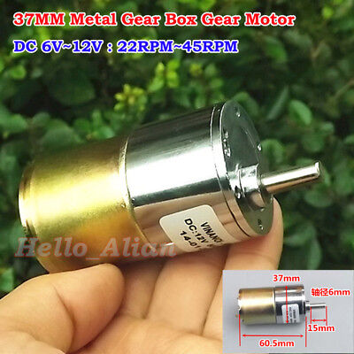 37mm Dc 6v 9v 12v 45rpm Slow Speed Large Torque Micro Gear Box Metal Gear Motor