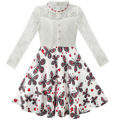 US STOCK! Girls Dress Lace Pearl Plum Blossom Elegant Princess Dress Size 7-14 - Plum Girls Dresses