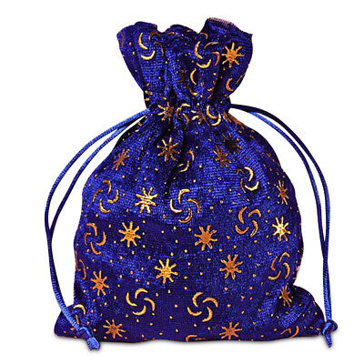 Royal Blue With Embossed Gold Stars and Crescents unlined Drawstring Pouch - Gold And Royal Blue