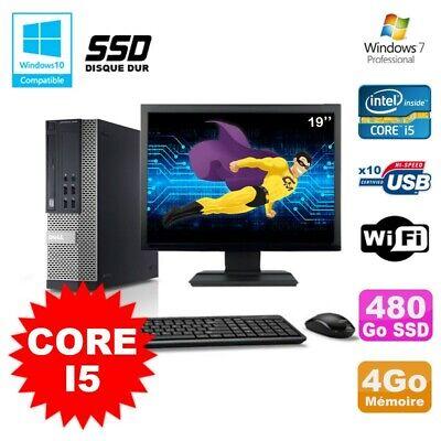 Lot PC Dell 7010 SFF Core I5 2400 3.1GHz 4Go 480Go SSD Wifi W7 + Ecran 19