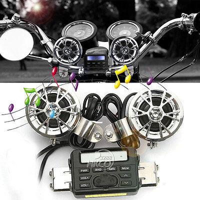 Motorcycle Handlebar Fm Audio Radio Amplifier Mp3 Speaker For Harley 883 1200